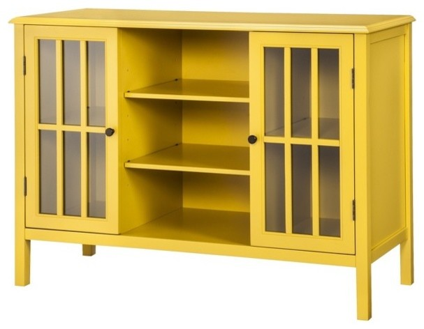 Threshold Windham 2-Door Cabinet with Center Shelves, Yellow - Contemporary - Display And Wall ...