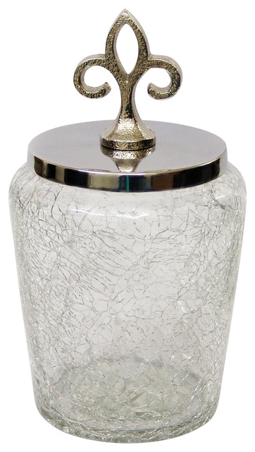 Nu Steel Crackle Glass Canister Small With Stainless Steel Lid