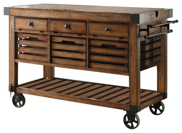 Acme Kaif Kitchen Cart, Distressed Chestnut