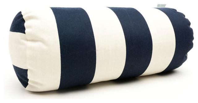 Round Bolster Pillow Navy Blue Vertical Strip