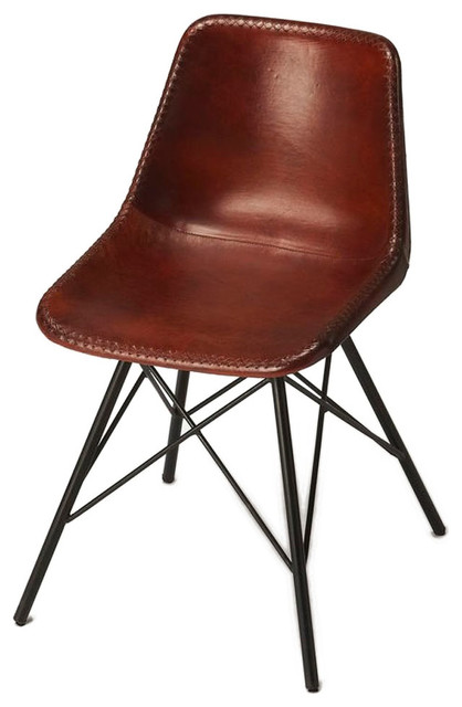 Offex Modern Living Room Leather Side Chair, Brown