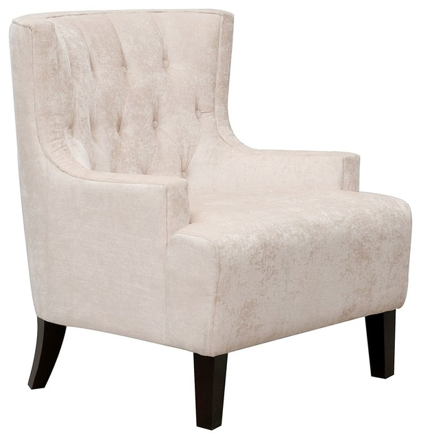 Hemingway Velvet Button Tufted Solid Oak Legs Accent Chair, Taupe  Transitional Armchairs And