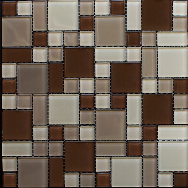 shop houzz newlinkz beige and brown peel and stick glass mosaic wall tile mosaic tile. Black Bedroom Furniture Sets. Home Design Ideas