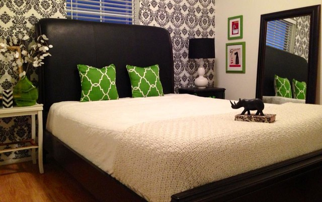 Black White And Green Damask Guest Room Contemporary Bedroom Adorable Green And Black Bedroom