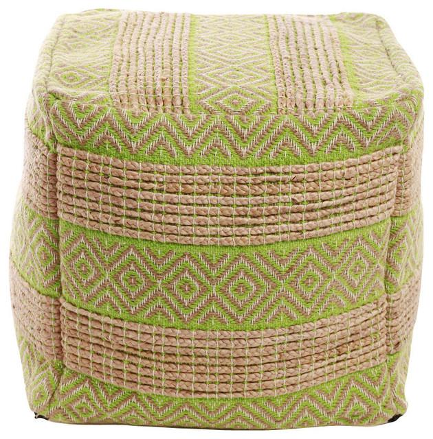 Diamond And Stripe Pattern Jute Pouf, Green.