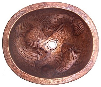 Embossed Fish Hammered Oval Bathroom Copper Sink Tropical Bathroom Sinks