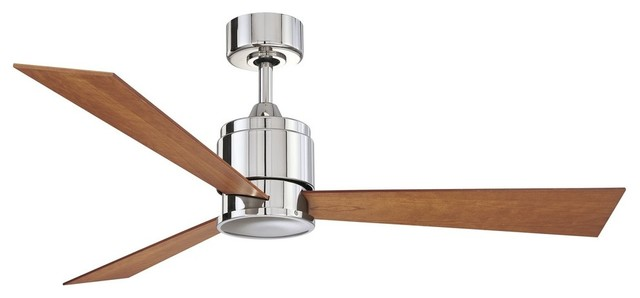"Fanimation Zonix 54"" Polished Nickel Ceiling Fan W/ 3 Cherry/walnut Blades."
