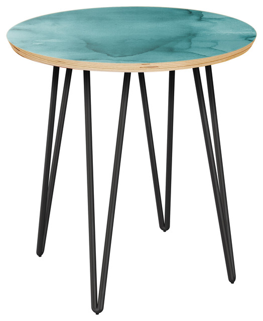 Charmant Stella Hairpin Side Table, Pacific Waters, Natural/Black