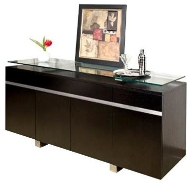 Perfect Modern Buffet W Floating Glass Top U0026 Stainless Steel Accents   Novo  Contemporary Buffets