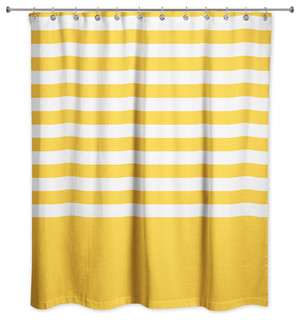 Yellow Stripes 71x74 Shower Curtain