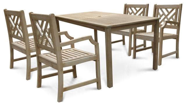 Vifah Renaissance 8 Piece Hardwood Dining Table And