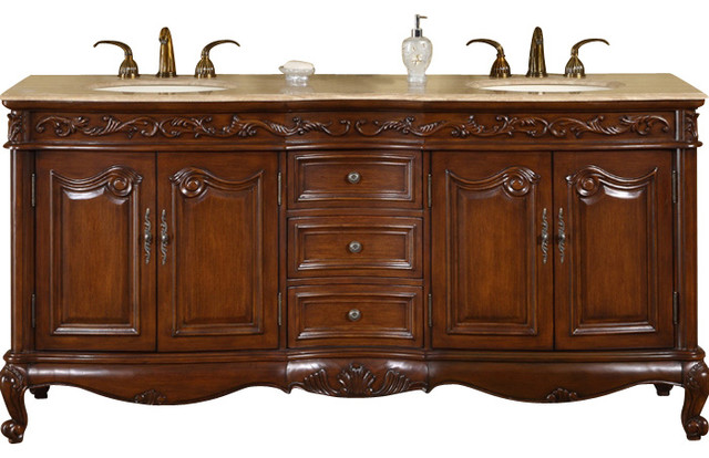 72 Inch Antique Brown Double Sink Bathroom Vanity Travertine Traditional Victorian Bathroom Vanities And Sink Consoles By Shopladder Houzz