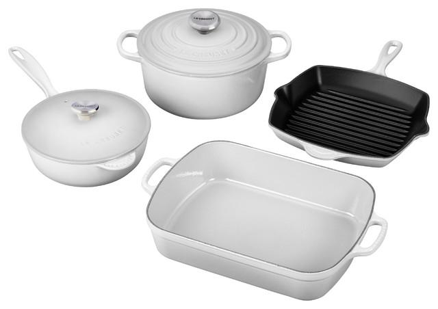 Le Creuset 6-Piece Signature Enameled Cast Iron Cookware Set, White.