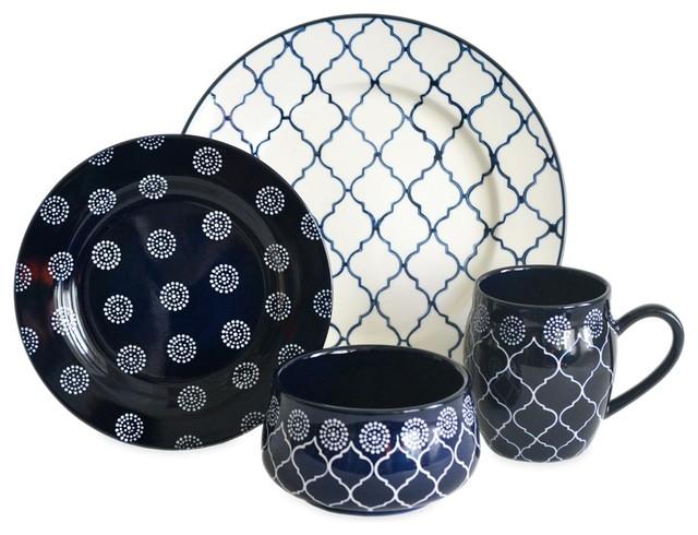 Moroccan 16-Piece Dinnerware Set - Mediterranean - Dinnerware Sets ...