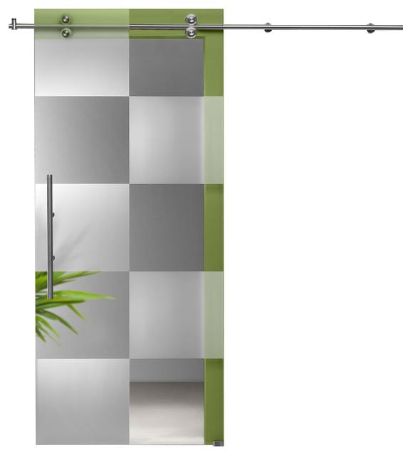 Modern Sliding Glass Barn Door Frostedclear Cubic Design