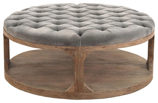 Marie French Country Round Grey Tufted Wood Coffee Table