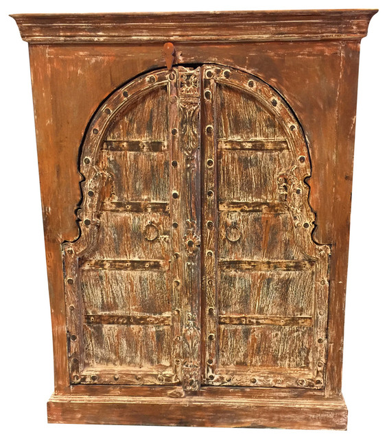 Consigned Antique Chest Haveli Rustic Red Wooden Double Door Sideboard Cabinet Mediterranean Accent Chests And Cabinets By Mogul Interior