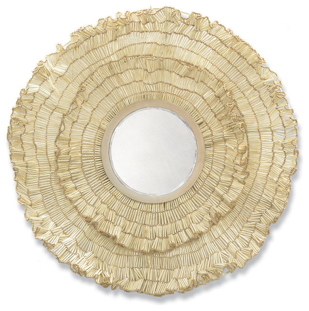 Coastal Wall Mirrors cocoa wood ruffled large round coastal beach wall mirror - beach