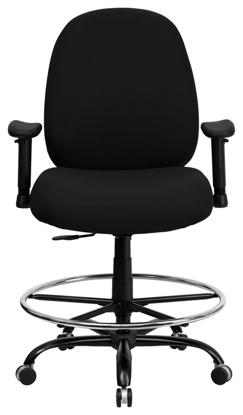 400 Lb Capacity Big And Tall Drafting Chair W Extra Wide Seat Black Fabric Contemporary Office Chairs By Bentley Marketing