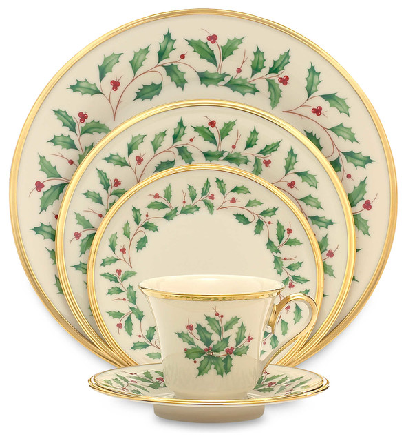 ... Tabletop · Dinnerware · Holiday Dinnerware. Lenox Holiday 5-Piece China Setting Set of 12  sc 1 st  Houzz & Lenox Holiday 5-Piece China Setting Set of 12 - Contemporary ...