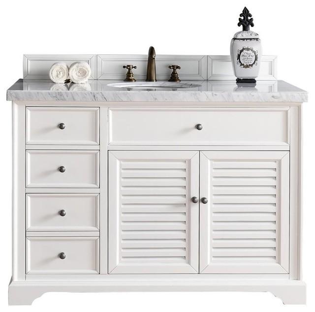 Savannah 48 single vanity cabinet cottage white beach - White cottage style bathroom vanities ...