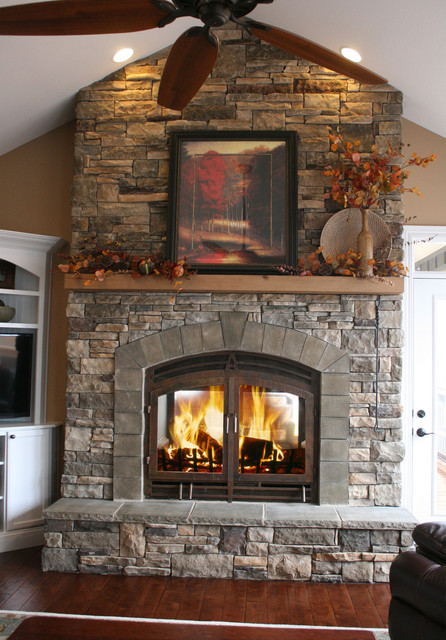 Indoor outdoor see through fireplaces for Through fireplace