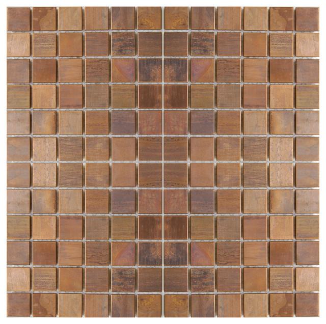 Sample Rustic Copper Linear Natural Slate Blend Mosaic: Medium Square Antique Copper Mosaic Tile