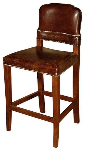 Gibbons Rustic Lodge Cigar Top Grain Leather Counter Stool Rustic Bar Stools And