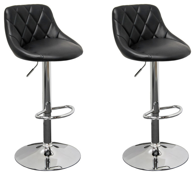 Tremendous Claire Faux Leather Adjustable Swivel Bar Stools Set Of 2 Black Onthecornerstone Fun Painted Chair Ideas Images Onthecornerstoneorg