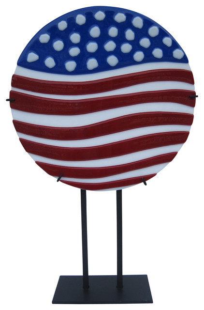 """""""God Bless The Usa"""" Handcrafted Fused Glass Art Deco Sculpture With Stand"""