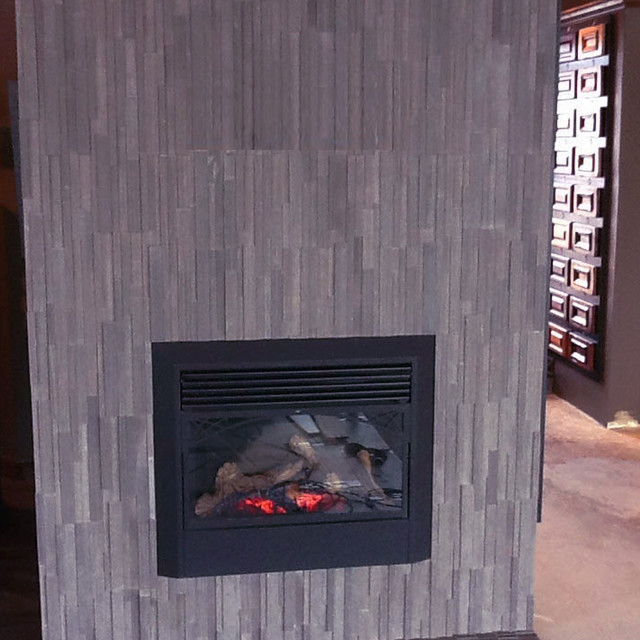 Vertical Split Stone Brown Fireplace Contemporary