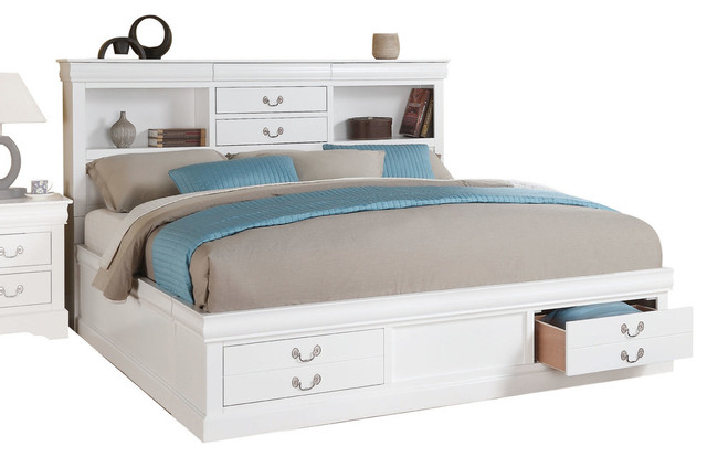 Louis Philippe Iii Bed With Storage And Hidden Drawer, White, Queen.