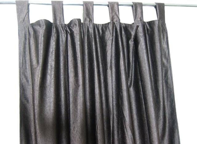 Consigned Coffee Brown Tab Top Indian Sari Curtain / Drape / Panel ...