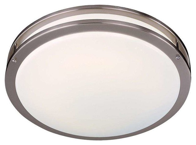 Minka Lavery 860-84-Pl Energy Efficient Flush Mount In Brushed Nickel.