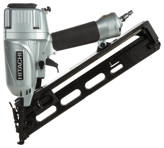 Hitachi 15 Gauge Angled Finish Nailer With Air Duster.