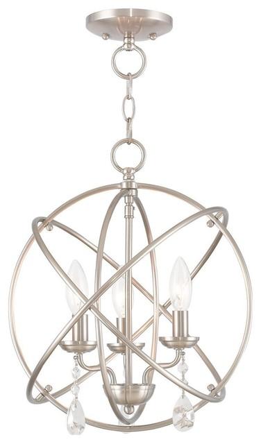 Aria 3-Light Mini Chandelier/Ceiling Mount, Brushed Nickel