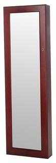 Wall-Mount Over The Door Wooden Jewelry Armoire Mirror, Cherry Brown