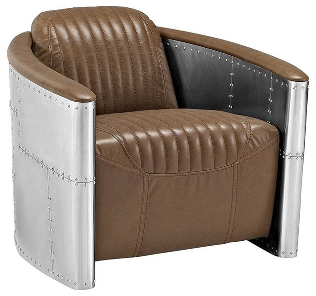 Delicieux SAMBA UPHOLSTERED VINYL LOUNGE CHAIR/BROWN