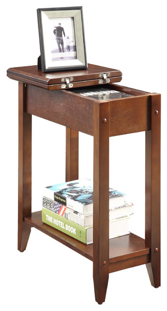 American Heritage Flip Top End Table, Espresso Transitional Side Tables And