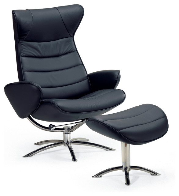 Fjords Tinde Design Icon Chair And Footstool Black