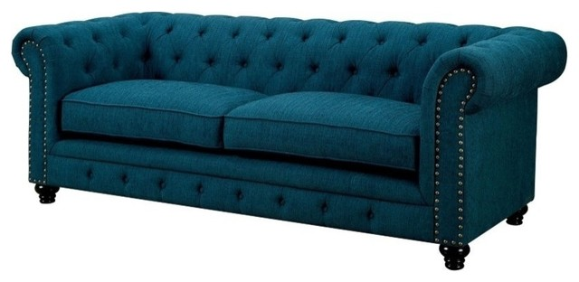 Attractive Stanford Classic Design Rolled Arms Dark Teal Fabric Sofa Contemporary Sofas