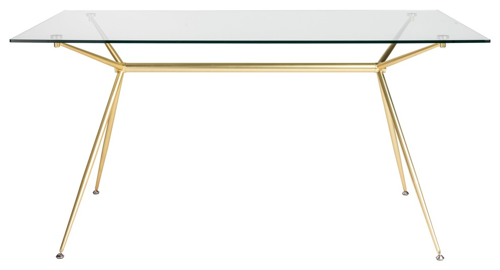 Modern 60 Executive Glass Desk Matte Brushed Gold Frame Contemporary Desks And Hutches By Office Furniture More