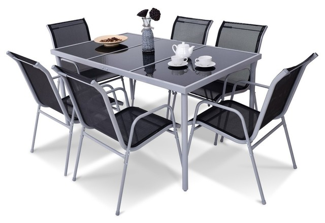 Modern 7 Piece Patio Furniture Steel Table Chairs Dining Set