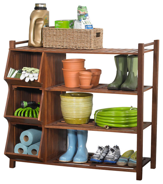 4 Tier Outdoor Shoe Rack Cubby Transitional Storage