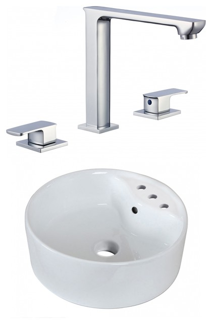 """18.25""""above Counter White Vessel Set For 3h8"""" Center Faucet, Faucet Included."""