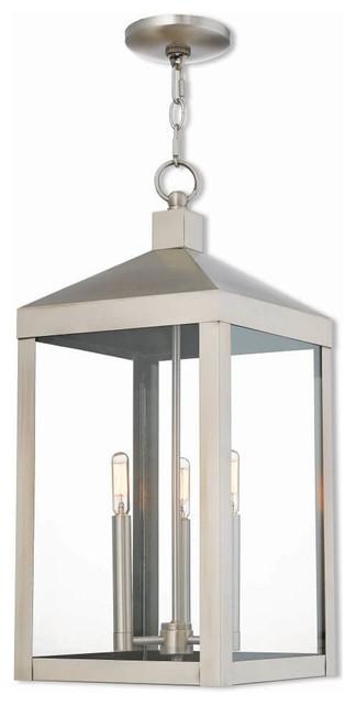 3-Light Outdoor Pendant Lantern, Brushed Nickel