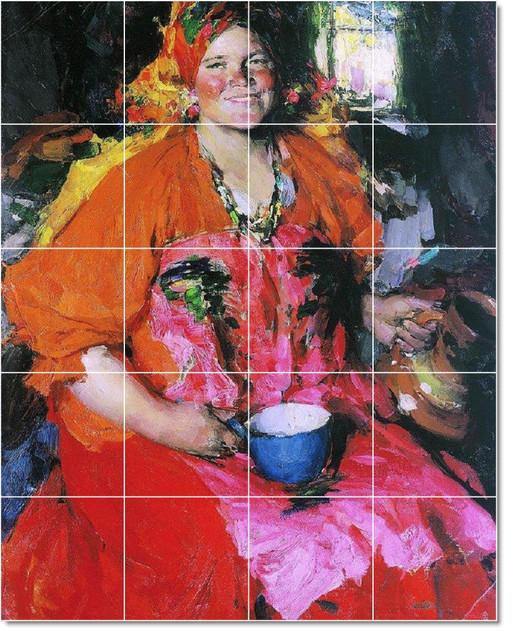 Picture tiles llc abram arkhipov women painting ceramic for Ceramic mural artists