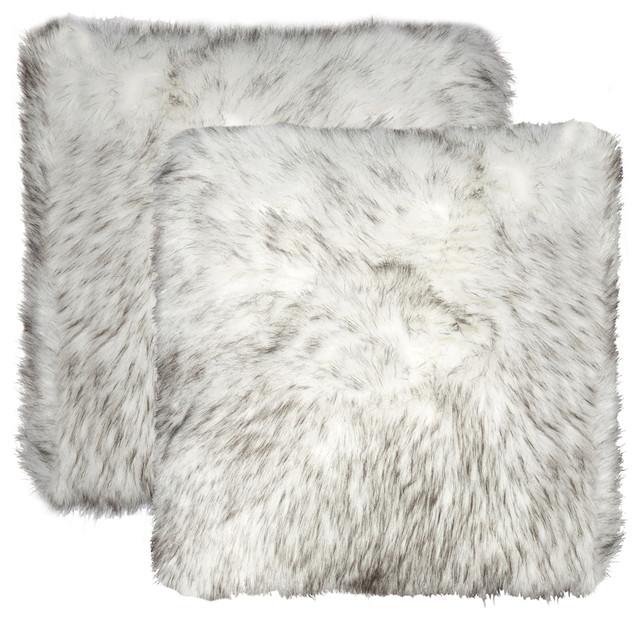 "Belton Faux Fur Pillows, Set Of 2, Gradient Gray, 18""x18""."