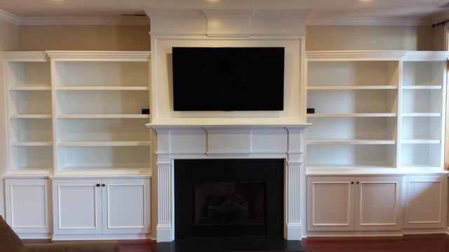 Custom Built-In Bookshelves and Custom Belmont Double Fireplace Mantel