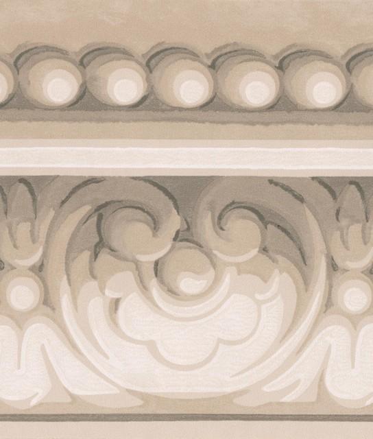 Grey White Damask Crown Molding Wallpaper Border Clic Design